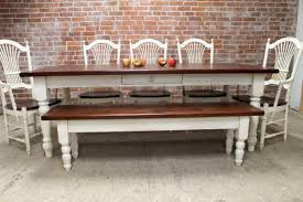 farmhouse dining table and matching bench