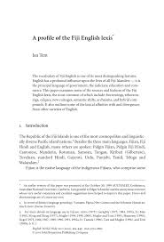 Pdf A Profile Of The Fiji English Lexis An Account Of How The