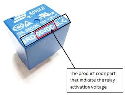 identify terminal pins of a relay out reference to datasheet figure 4 the part of product code indicates relay activation voltage