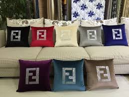 F Pillow Cover Creative Art Paris FF Luxury Crystal Diamond Velvet Custom Fendi Bedroom Furniture Creative Painting