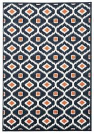 door nice orange and blue area rug