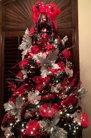 Red black and silver Christmas tree with mesh