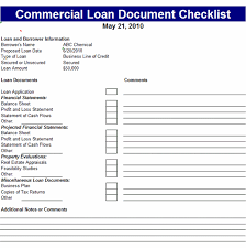 Commercial Loans Calculator Commercial Loan Document Checklist Template Office Templates