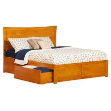 Atlantic Furniture Metro Caramel Queen Platform Bed with Flat Panel ...
