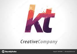 Kt Design Kt K T Letter Logo Design With Purple Forest Texture Flat
