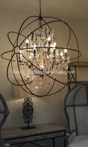 foucault s iron orb crystal chandelier pertaining to with crystals plan 13