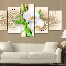 2018 unframed bamboo orchid flower wall art oil painting on canvas textured abstract paintings pictures decor living room decor from angelart168