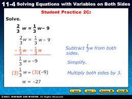 student practice 2c solve 2 3 w 1 w