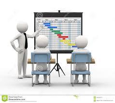 бизнесмен d представляя планово контрольный график Иллюстрация  бизнесмен 3d представляя планово контрольный график