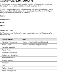 6 Transition Plan Template Free Download