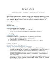 Brian Shea Coaching Resume New Basketball Coach Resume