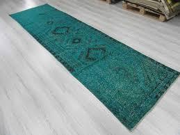 great teal runner rug vintage turquoise blue overdyed turkish runner rug 0805