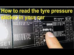 How To Read The Tyre Pressure Sticker In Your Car Youtube