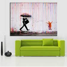 Living Room Wall Art And Decor Aliexpresscom Buy Banksy Art Colorful Rain Wall Canvas Wall Art