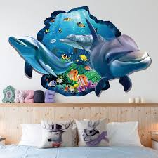 xh 9215 sea aquarium dolphin 3d wall stickers removable wall poster diy animaldecoration accessories for kids rooms wall art wall mural decal vinyl art