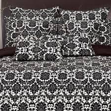 bedding sets dynasty damask micro plush full queen comforter set in black white