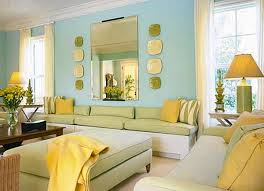 This analogous room contains tints of blue, green, and yellow. Blue is  dominant