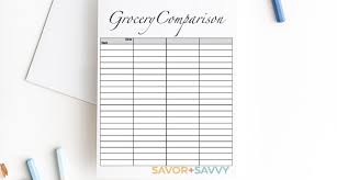 Printable Comparison Chart My Shocking Grocery Store Comparison Savings Free