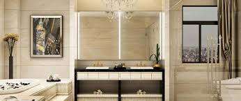integrated light mirror by grand mirrors installed in a luxurios bathroom
