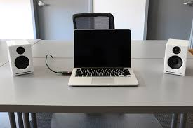 speakers desk. desk enjoying your new computer speakers, this called \u201cnear field listening\u201d. we have found if you can create an equilateral triangle with ears and speakers