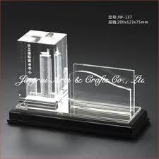 Unique Design 3d Inner Laser Engraved Crystal Name Card Holder
