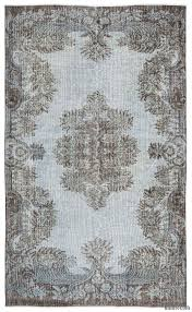 light blue over dyed turkish vintage rug 4 8 x 8 56 in x 96 in