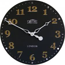 smiths antique black wall clock 50cm