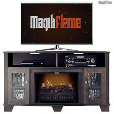wall mantel tv stand w realistic fireplace insert