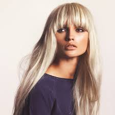 Straight blonde hair with bangs