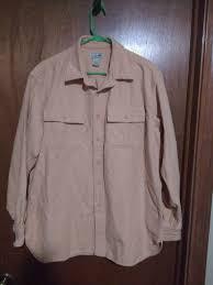 details about ll bean mens heavyweight long sleeve on front shirt tan khaki large lg l