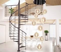 new modern brief e27 220 110v long stair led round glass ball chandelier 10 head
