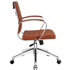brown leather office chair. Amazon.com: Modway Jive Ribbed Mid Back Executive Office Chair With Arms In Terracotta: Kitchen \u0026 Dining Brown Leather