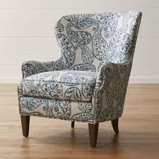 blue and white paisley wingback chair blue fl accent chair