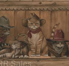 cowboy cats rustic wood country western kitty cabin lodge wall 1000x959