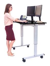 luxor stande electric adjust standing desk with wheels