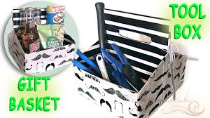 last minute diy fathers day gift mustache gift basket tool box you
