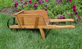 amish made small wooden wheelbarrow for garden planter remodel 31