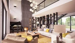 interior design. Double Volume Statement Living Room With Feature Rivven Stone Fireplace Interior Design