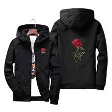 rose jacket windbreaker men and women s kids jacket new fashion white and black roses outwear coat male plus size s 7xl