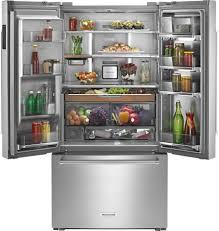 kitchenaid 23 8 cu ft french door counter depth refrigerator silver krfc704fss best