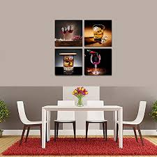 canvas wall art ready to hang for home decoration canvas prints 4 panels oil painting picture wine cigar modern wall art for kitchen wall decor ideas  on wine and dine canvas wall art with canvas wall art ready to hang for home decoration canvas prints 4