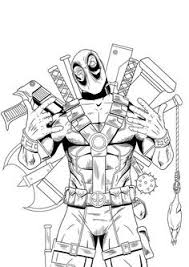 Small Picture Deadpool Coloring Page Superheroes Coloring Pages Pinterest