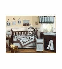 sweet jojo designs hotel blue brown 9 piece crib bedding set