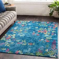 rug co aura silk ask bright blue uk
