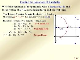 how to find the focus of a parabola in standard form math 9 finding the equations