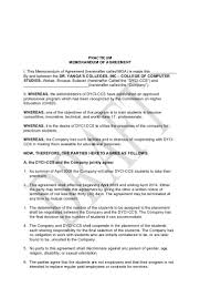 Student Agreement Contract Memorandum of agreement