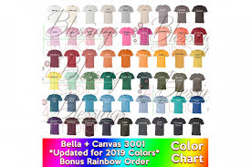 Bella Canvas 3001 Color Chart 2019 Updated Psd Jpg Editable