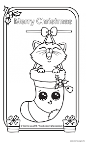 Coloring Pages Staggering Christmas Card Coloring Pages Kitten