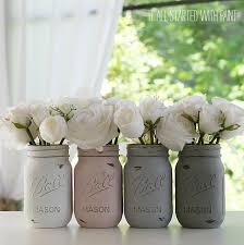 painted distressed mason jars pink grey chalk paint