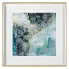 sea lace 2 blue gold framed wall art